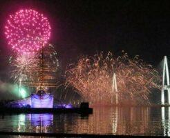 海王丸と花火